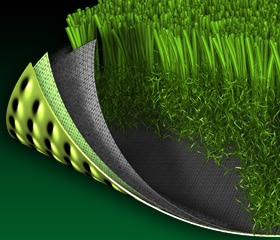 closeup image of synlawn enviroloc backing system