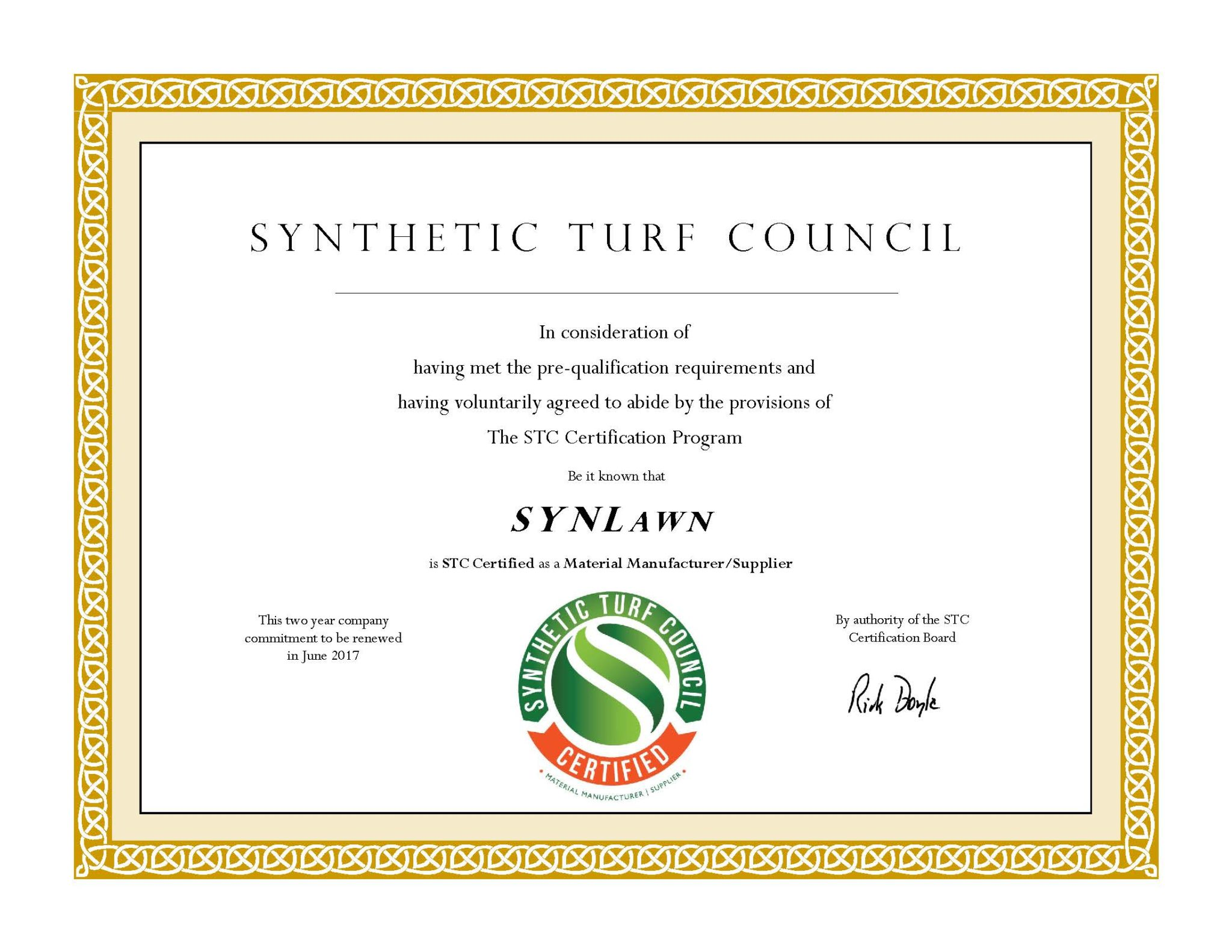 image of synlawn certificate from synthetic turf council